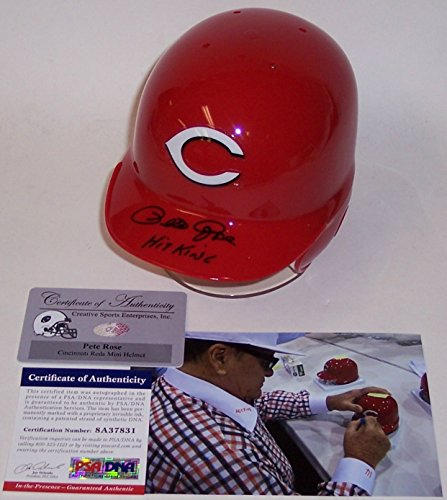 Pete Rose Autographed Hand Signed Cincinnati Reds Mini Baseball Batting Helmet - with Hit King Inscription - PSA/DNA