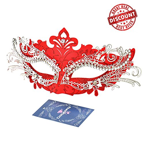 Masquerade Masks, Cozypony Lacer Cut Luxury Princess Venetian - Red Masks For Masquerade Ball