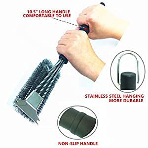 "EZGRILLZ Best BBQ Grill Brush, 18"" Grill Cleaning Brush with Scraper, Durable 3 in 1 and 360° Effortless Cleaning Barbecue Scrub Brush with Stainless Steel Woven Wire Bristles"