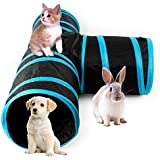 AikoPets Collapsible 3 Way Cat Tube Kitty Tunnel Bored Cat Pet Toys Peek Hole Toy Ball Cat, Puppy, Kitty, Kitten, Rabbit