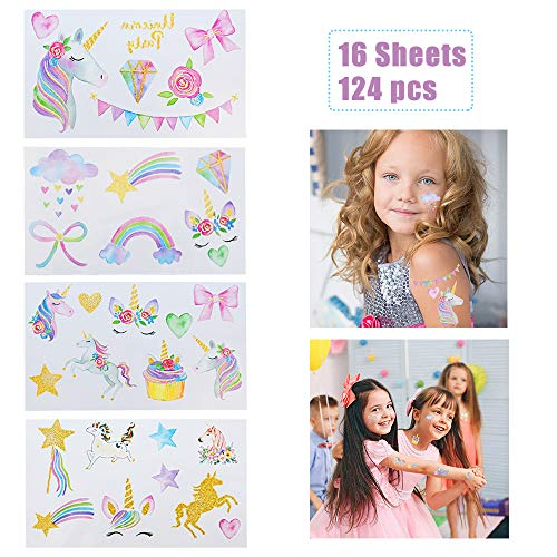 (Unicorn Temporary Tattoos for Girls - Perfect Girls Party Favors - 16 Sheets 124 PCS Watercolors with Sparkle Gold Glitter)