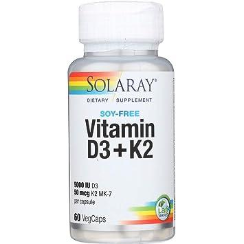 Vitamina D-3 y Vitamina K-2 con Calcio y Fósforo de Solaray | Bote de 60 Comprimidos | D3 K2 (MK-7): Amazon.es: Salud y cuidado personal