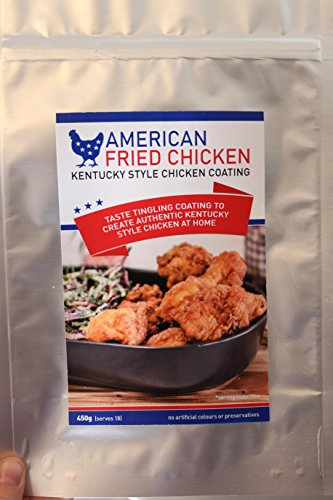 American Fried Chicken Coating, 450g 1lb pack, 100% authentic taste, 99.7% natural ingredients, seasoned fried chicken breading to create an authentic Kentucky Style Chicken from home in 3 easy steps