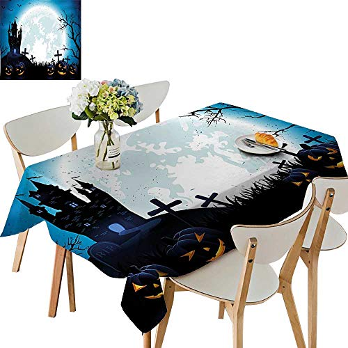 UHOO2018 Square/Rectangle Tablecloth Waterproof Polyester Spooky Concept with Halloween Icons Old Celtic Harvest Festival Figures in Dark Image Wedding Birthday Party,52x 52 -