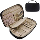 Jewelry Organizer Bag (Upgraded) Travel Jewelry Storage Case for Necklace, Earrings, Rings, Bracelet, Black
