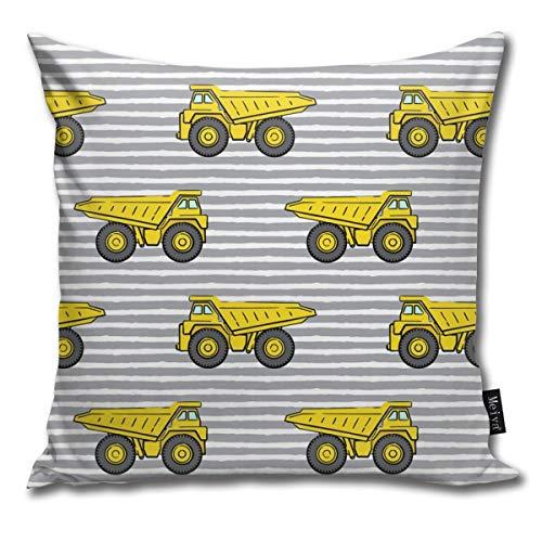 Dump Trucks - Grey Stripes - Construction_20591 Cotton Home Decorative Throw Pillow Case Cushion Cover Sofa Couch, 18