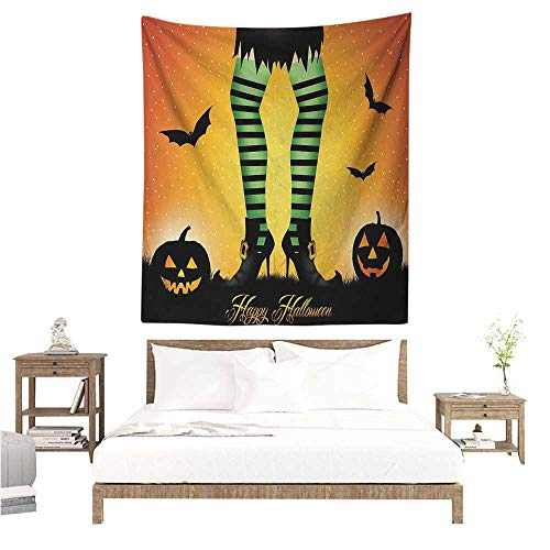 Agoza Halloween DIY Tapestry Cartoon Witch Legs with Striped Leggings Western Concept Bats and Pumpkins Print Home Decorations for Bedroom Dorm Decor 57W x 74L INCH Multicolor -