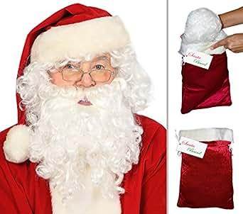Deluxe Santa Beard and Wig Set Santa Wig and Beard Set Santa Claus Beard and Wig