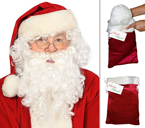 Deluxe Santa Beard and Wig Set Santa Wig and Beard Set Santa Claus Beard and Wig - Deluxe Santa Costumes Beard And Wig Set
