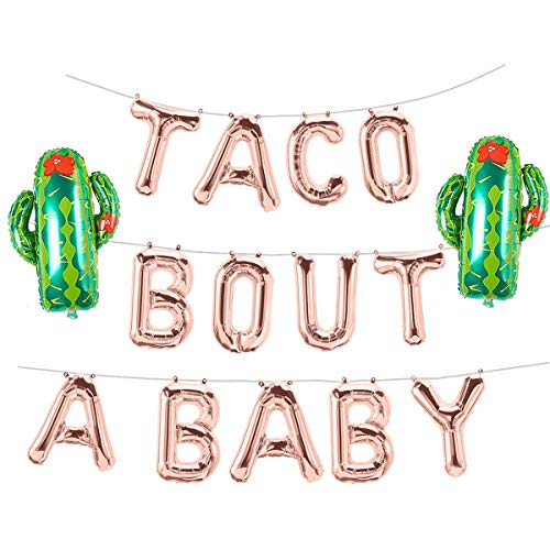 Taco Bout A Baby Rose Gold Balloons Banner Fiesta Cactus Baby Shower First 1st Birthday Party Decorations Supplies Theme Boy or Girl Gender Reveal Pregnancy Announcement Letter Balloon -