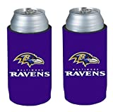 NFL 2013 Football Ultra Slim Beer Can Holder Koozie 2-Pack - Pick your team (Baltimore Ravens)