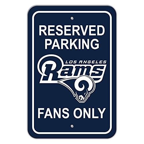 Fan Parking Sign - NFL Los Angeles Rams Plastic Parking Sign - Reserved Parking, Blue,