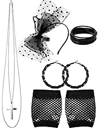 80s Party Accessories, Dot Lace Headband Fishnet Glove Earring Necklace Bracelet