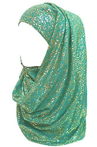 Lina & Lily Gold Glitter Plain Color Hijab Muslim Head Wrap Scarf Shawl (Teal) - Glitter Scarf