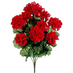 "17"" Silk Geranium Flower Bush -Red (case of 12) 26"
