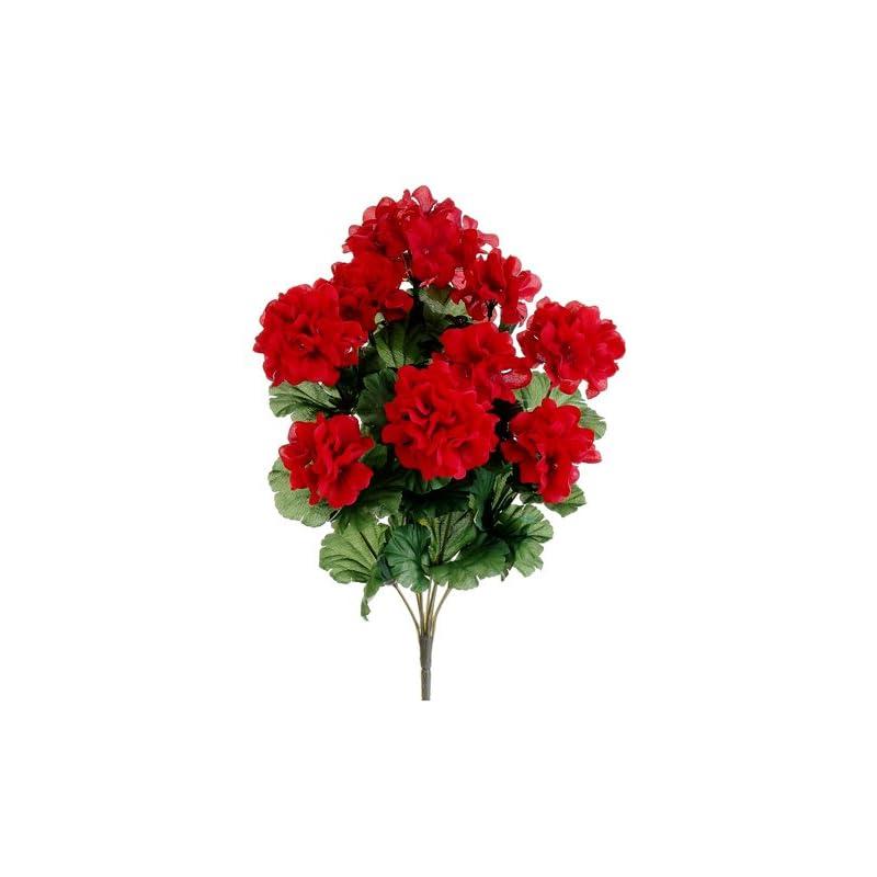 """silk flower arrangements 17"""" silk geranium flower bush -red (case of 12)"""