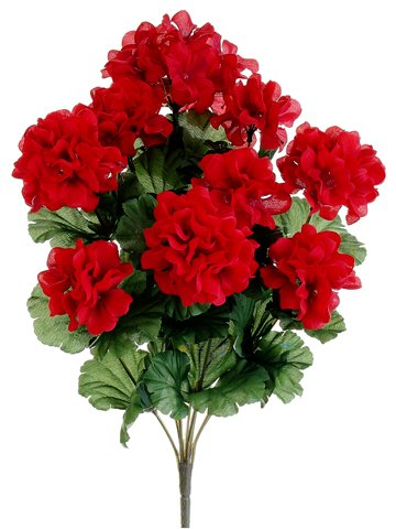 Silk Plants Direct Geranium Bush (Pack of 12) - Red (Topiary Silk Flower)