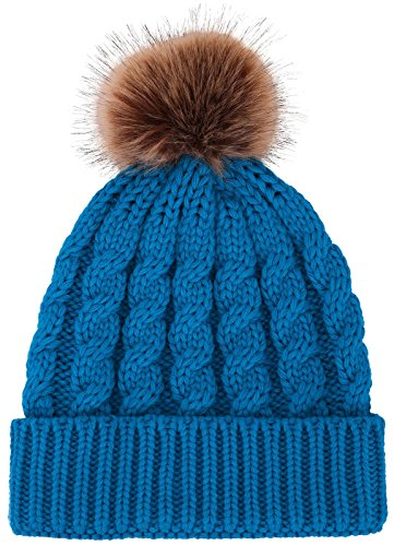 Knitted Beanie Hat with Faux Fur Pom Pom, Royal Blue (Royal Blue Winter Beanie)