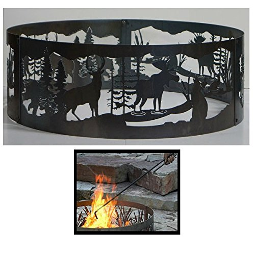 PD Metals Steel Campfire Fire Ring Moonlight Gathering Design - Unpainted - with Fire Poker - Extra Large 60 d x 12 h Plus Free eGuide by PD Metals