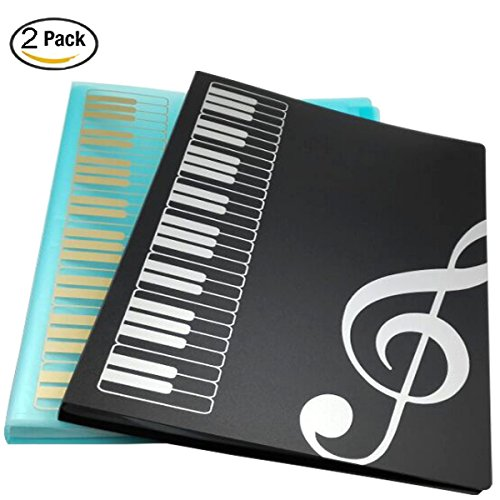WOGOD Music Sheet File Paper Documents Storage Folder Holder Plastic.A4 Size,40 Pockets (Black+Blue) Custom Folder Printing
