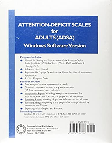 Attention-Deficit Scales For Adults Adsa Software Edition 1st Edition  sc 1 st  Amazon.com & Attention-Deficit Scales For Adults Adsa Software Edition: Santo J ...