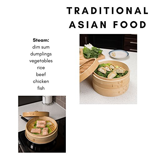 BirdRock Home 10 Inch Bamboo Steamer | Classic Traditional Design | Healthy Cooking | Great for dumplings, vegetables, chicken, fish | Steam Basket | Natural by BirdRock Home (Image #4)