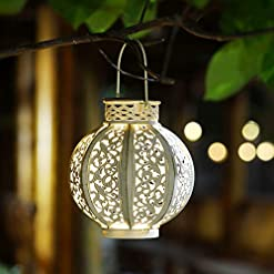 Garden and Outdoor Maggift 2 Pack Hanging Solar Lights Outdoor Solar Lights Retro Hanging Solar Lantern with Handle, 6 Lumens, White outdoor lighting
