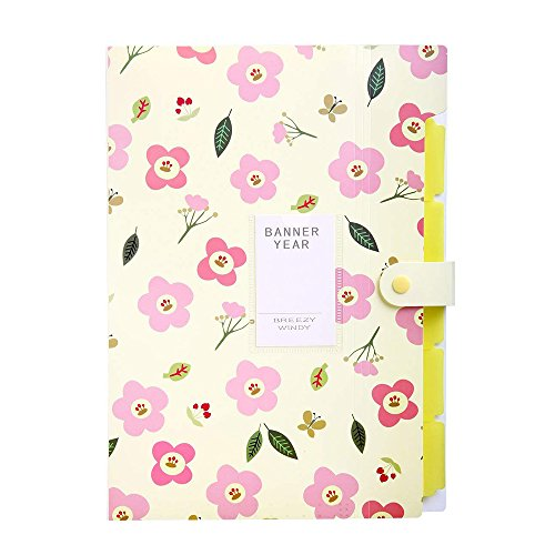Floral Printed Accordion File Folder, WSTJY Expanding Document Folders Organizer, 5 Pockets (Yellow)