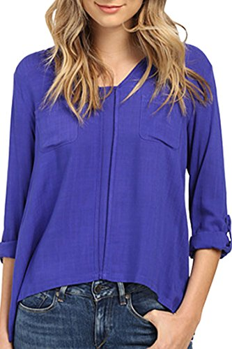 Ladies Cotton Linen Crewneck Rolling Sleeve Casual Blue Blouse Shirts Tops XL
