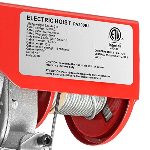 Partsam 440 lbs Lift Electric Hoist Crane Remote Control Power System, Zinc-Plated Steel Wire Overhead Crane Garage Ceiling Pulley Winch w/Premium Straps (UL/CUL Approval, w/Emergency Stop Switch) by Partsam (Image #6)