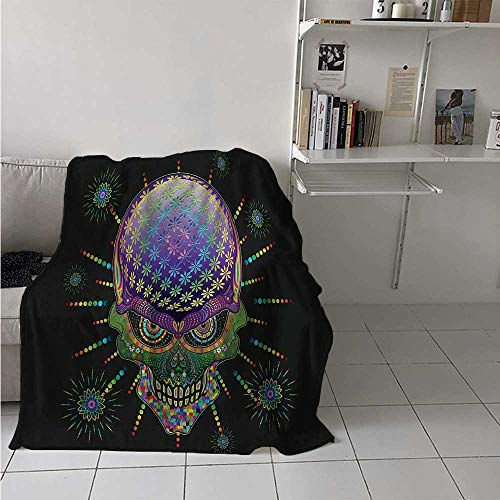 maisi Psychedelic Lightweight Blanket Digital Mexican Sugar Skull Festive Ceremony Halloween Ornate Effects Design Digital Printing Blanket 50x30 Inch Multicolor -