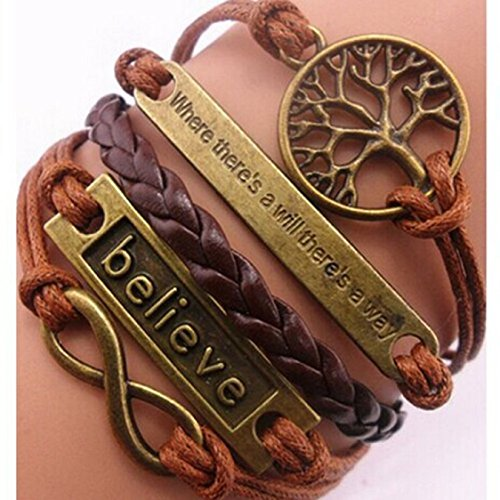 Ikevan Handmade Adjustable Tree for Life Believe Multilayer Retro Bracelet Jewelry Wristband Gift for Women Girls