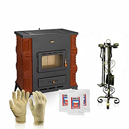 Ceramic wood burning stove Prity, Model K2 RK, Heat output 10kW, Legs + Gift Accessories: Amazon.co.uk: DIY & Tools