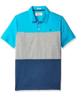 Men's Short Sleeve Tri-Color Heathered Block Polo