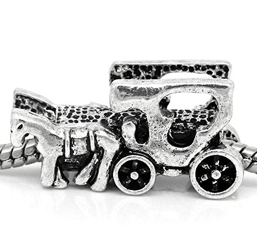 Horse Carriage Cart Wagon Buggy Amish Charm for Silver European Bead Bracelets Crafting Key Chain Bracelet Necklace Jewelry Accessories Pendants