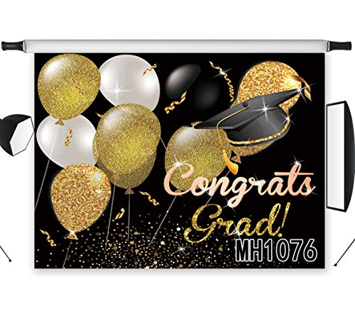 LB Graduation Backdrops for Photography 9x6ft Fabric Congrats Grad Photo Background for Class of 2019 Prom Party Banner Portraits Photo Studio Props,Washable