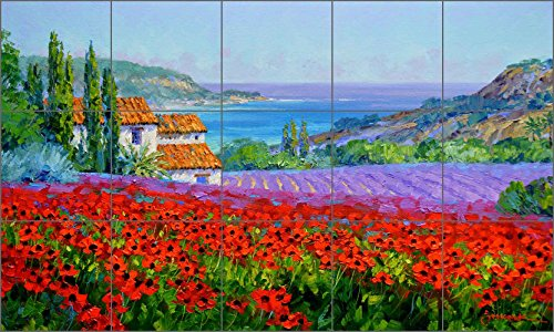 "Price comparison product image Mediterranean Poppies Art Tile Mural Backsplash - Crimson Profusion By Mikki Senkarik Ceramic Kitchen Shower Bathroom (30"" x 18"" - 6"" tiles)"