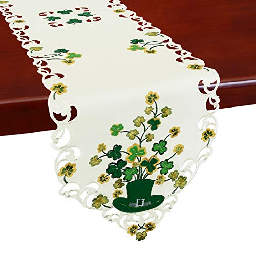 Shamrock Table Runner - Simhomsen Irish Clover Table Runners for St. Patrick's Day and Spring, Embroidered Shamrock Table Scarf, Decorations (14 × 88 Inch)