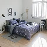 VClife Cotton Bedding Sets Chic Constellation Duvet Cover Set Blue Grey Stars Printed Bedding Duvet Cover Sets Universe Galaxy Style 3 Pcs King Bedding Collection Children Female Male New Home Textile