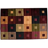 J&M Home Fashions Fashion Contemporary Non-Skid Area Rug, 30x50, Perfect Living Room, Kitchen, Bed Room, Loft, Office more-Squares