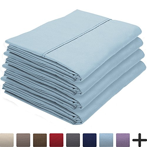 Bare Home 4 Pillowcases - Premium 1800 Ultra-Soft Collection - Bulk Pack - Double Brushed - Hypoallergenic - Wrinkle Resistant - Easy Care (Standard - 4 Pack, Light Blue)