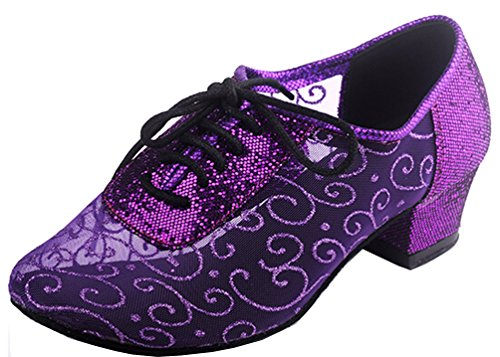 Abby Aq-900510 Womens Sexy Comfort Party Classica Tacco Basso Scarpe Da Ballo A Punta Tonda In Mesh Viola