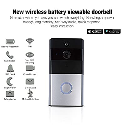 Video Doorbell, Wireless Doorbell, Wireless Doorbell Camera,Wireless WiFi Doorbell System Kit for Home Garden Market Night Vision Remote Control Waterproof 2 Ways Audio