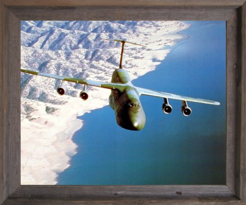 Impact Posters Gallery Military C-5 Cargo Flying Plane Aircraft Aviation Wall Decor Barnwood Framed Picture Art Print (19x23)