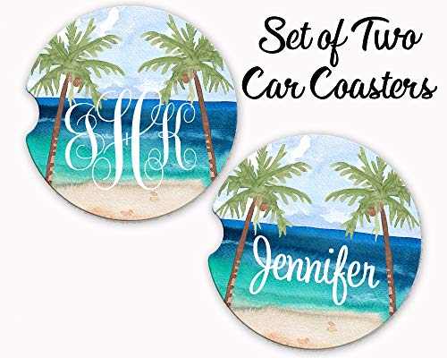 - Personalized Name or Monogram Car Coaster - Set of 2 - Ocean Beach Palm Tree - Car Cup Holder/Absorbent Sandstone/Standard Size