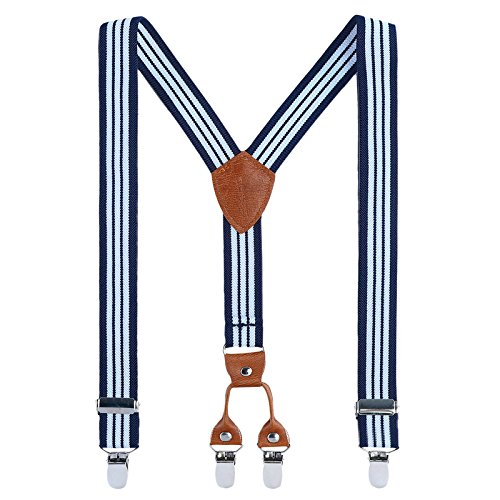 - Kids Child Men Boy Suspenders - Adjustable Elastic Solid Color 4 Strong Clips Braces(27Inches (3 Years to 9 Years), Navy Blue& White Stripe)
