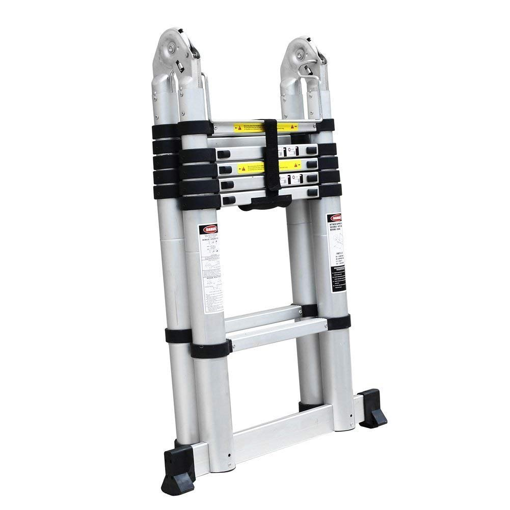 150 KG, 16.4FT, Extensible, Plegable Fixkit 5M Escalera Telesc/ópica de Aluminio Port/átil Multiuso con Barra de Balance Antideslizantes
