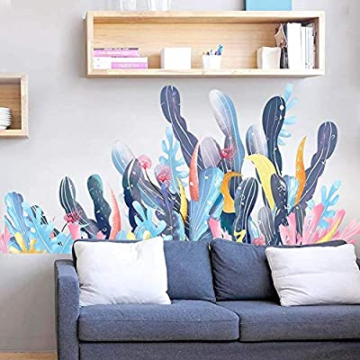 LiveGallery Removable 3D Green Plants Wall Stickers Ocean Grass Wall Decor Under The Sea View Wall Decals for Wall Corner Nursery Room Living Room Office Girls Bedroom 4 Sheets of 12