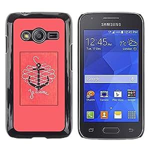Caucho caso de Shell duro de la cubierta de accesorios de protección BY RAYDREAMMM - Samsung Galaxy Ace 4 G313 SM-G313F - T'Aime I Love You Pink Text Anchor