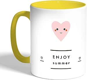 كوب سيراميك للقهوة، لون اصفر، enjoy summer بطبعة